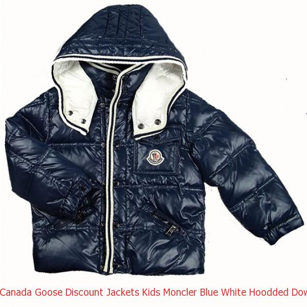 0253d1fad Canada Goose Discount Jackets Kids Moncler Blue White Hoodded Down ...