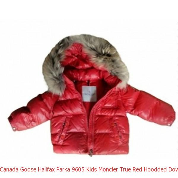 76ce19c77 Canada Goose Halifax Parka 9605 Kids Moncler True Red Hoodded Down ...