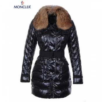 Canada Goose Jacket Making Moncler Long Coats Women Black With Fur Collar And Waistband Mc1222