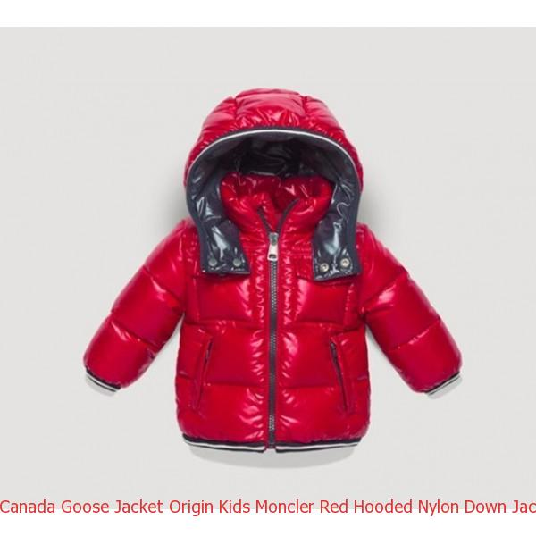 92a751389 Canada Goose Jacket Origin Kids Moncler Red Hooded Nylon Down Jacket ...