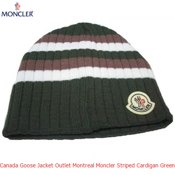 51b5a5e5c13 Canada Goose Jacket Outlet Montreal Moncler Striped Cardigan Green White  Chocolate Cap