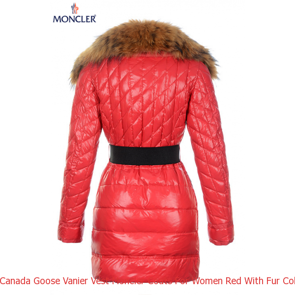 Canada Goose Vanier Vest Moncler Coats For Women Red With Fur Collar And  Waistband Mc1223 605559544e